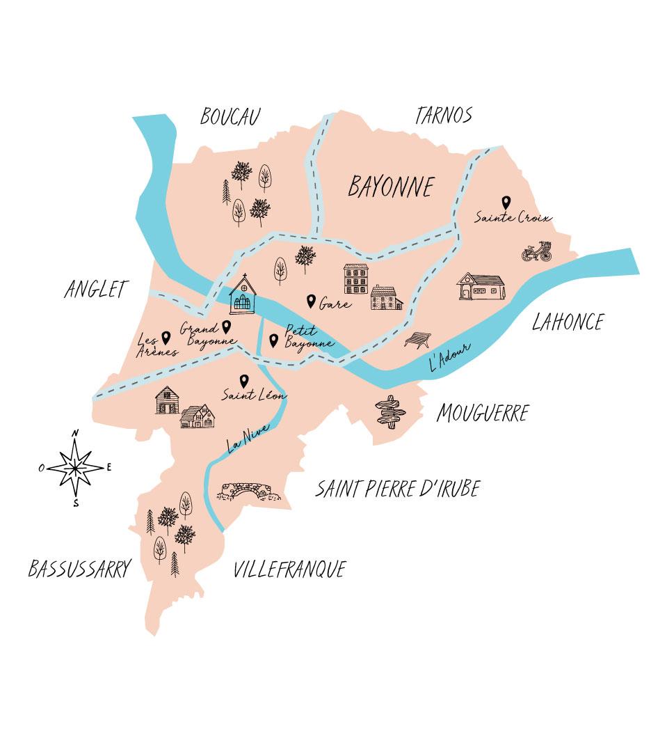 Carte immobilier à Bayonne